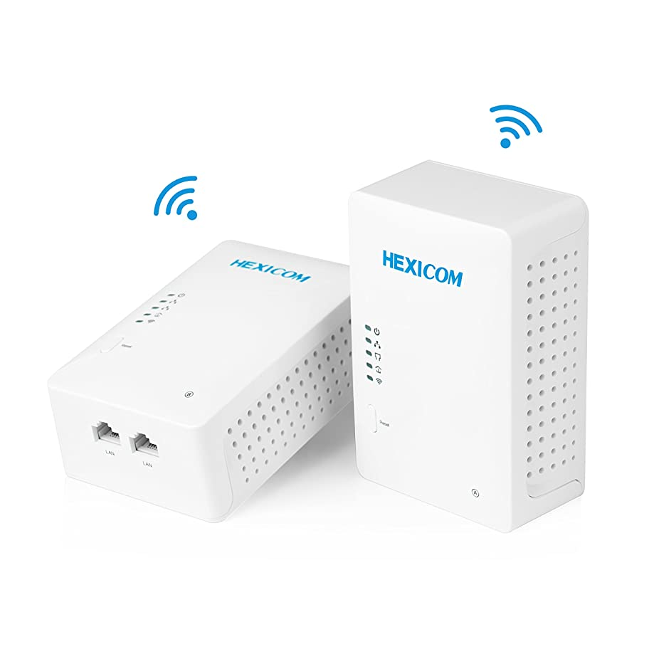 HEXICOM Av 500 Mbps Powerline Adapter with WiFi (Both with WiFi Support) Kit with IPTV Homeplug Bridge PLC 2 LAN Ports(HM500WE/HS500WE)