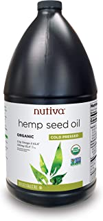 Nutiva Organic, Cold-Pressed, Unrefined Hemp Seed Oil from non-GMO, Sustainably Farmed Canadian Hemp, 128-ounces