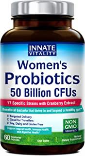 INNATE Vitality Women's Probiotics,50 Billion CFUs,17 Proven Strains, 60 Veggie Caps, Formulated with Prebiotics and Cranberry Extract,Non-GMO, Supports Vaginal, Digestive and Immune Health