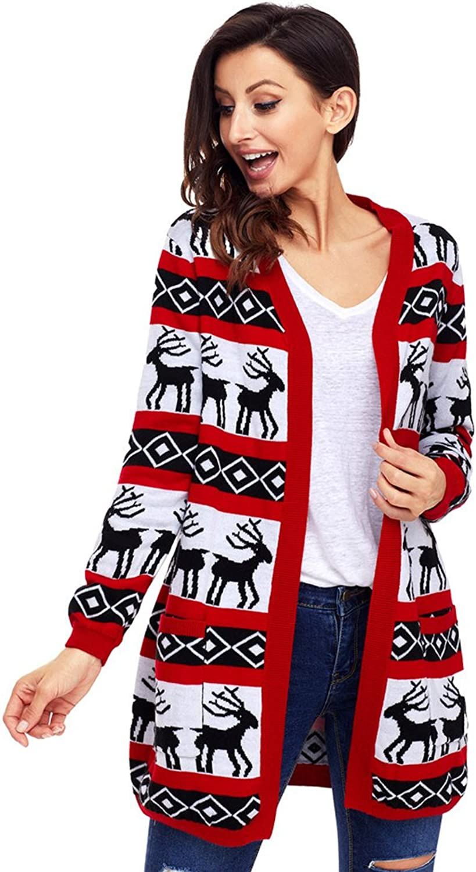 Harmony Life Women Christmas Reindeer Cardigan Oversized Knitting Sweater Open Front Long Sleeve Coat