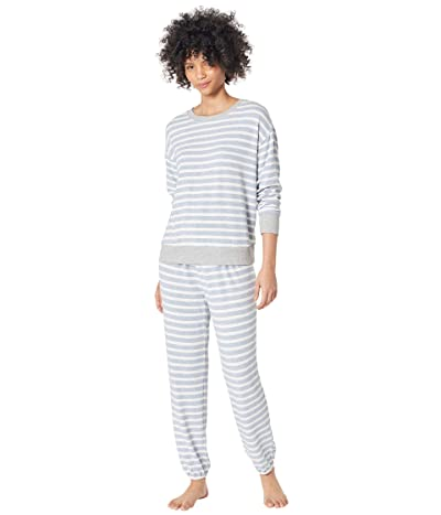 Splendid Westport Brushed Jersey Long Sleeve PJ Set (Weekend Stripe/Blue Heather) Women