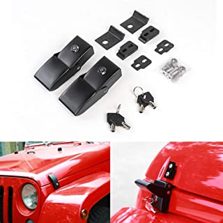 Stainless Steel Hood Latches Hood Lock Catch Latches Kit for Jeep Wrangler JK 2007-2017 (Black)