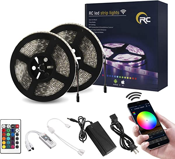 RC WiFi LED Strip Lights 32 8ft RGB LED Strip Light 5050 LED Light Strip Color Changing LED Strip Lights With Remote APP Control For Home Decoration Works With Android IOS Alexa Siri IFTTT