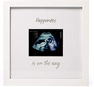 """1Dino Happiness is on The Way! Pregnancy Announcement Sonogram Keepsake Picture Frame – Large 10""""x 10"""" White Natural Wood Photo Frame – Expecting Parents, Baby Shower Gift, Wall or Desk Nursery Decor"""