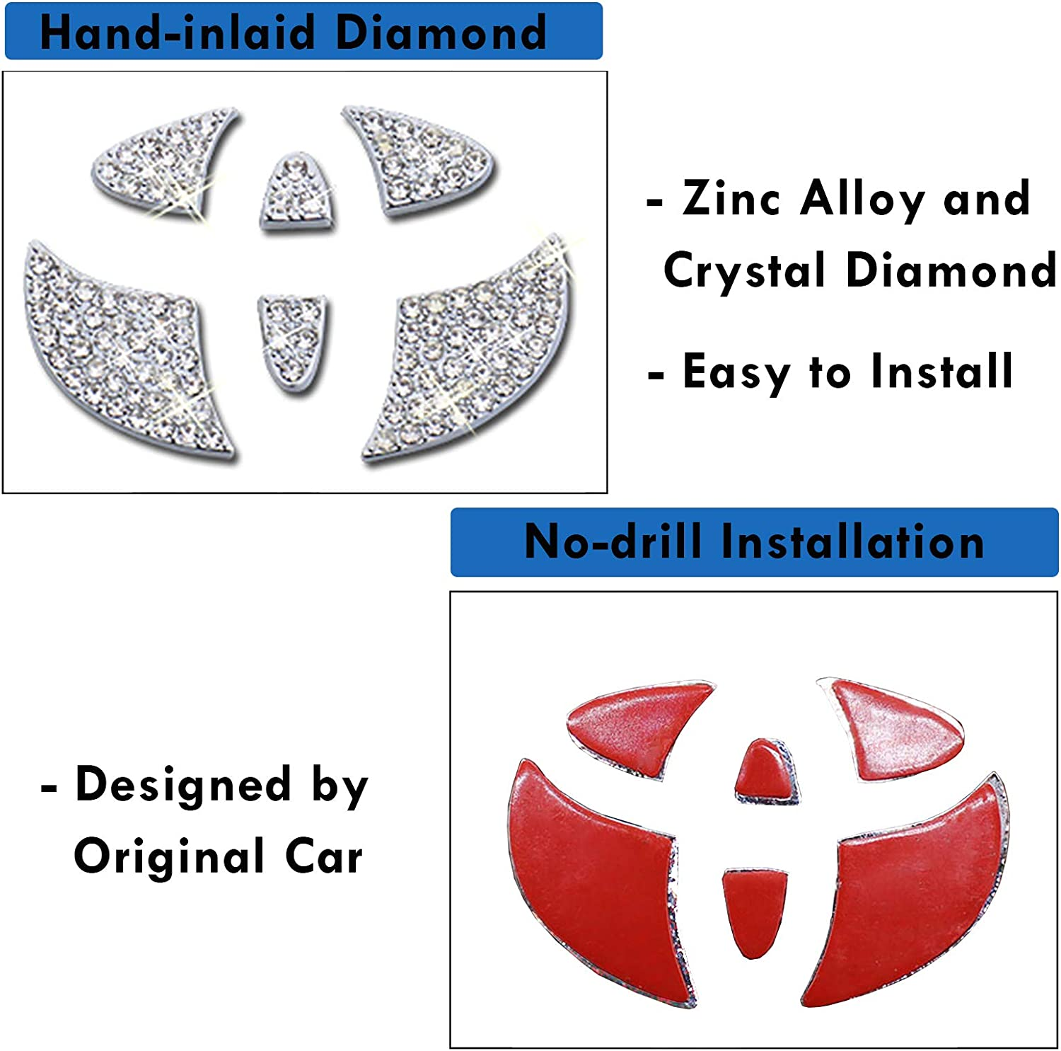 Moonlinks Steering Wheel Bling Crystal Emblem Interior Decal Diamond Sticker Shiny Accessory Fit for Mercedes-Benz 1.77 in//45 mm