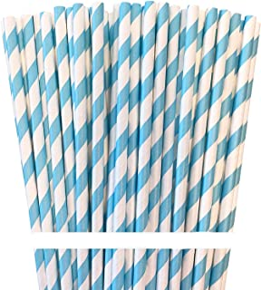 Paper Drinking Straws - Light Blue White - Striped - 7.75 Inches - Pack of 100 Outside the Box Papers Brand
