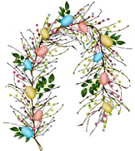 besttoyhome 6' Long Artificial Easter Egg and Mixed Berry Garland Hanging Rustic Spring Garland Pastel Easter Garland Vine...