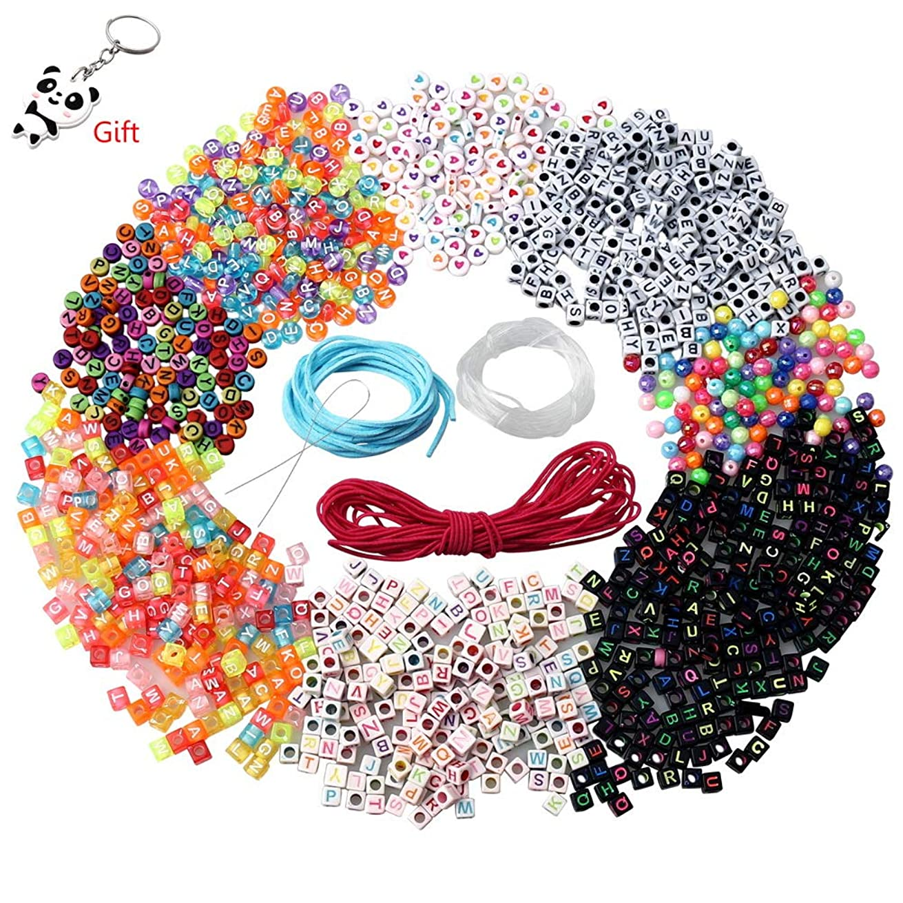 SUMAJU 1300 pcs Letter Beads,Cube Craft Letters Beads Acrylic Alphabet Letter Beads for Variety Jewelry Kits Craft Jewelry Accessories Handmade Beads DIY Material