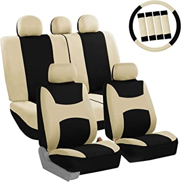 FH Group FB030BEIGEBLACK115-COMBO Seat Cover Combo Set with Steering Wheel Cover and Seat Belt Pad (Airbag Compatible and Split Bench Beige/Black): image