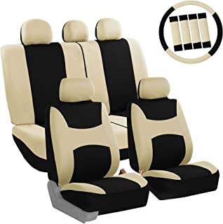 FH Group FB030BEIGEBLACK115-COMBO Seat Cover Combo Set with Steering Wheel Cover and Seat..