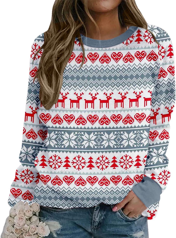 Womens Christmas Sweatshirt Crew Neck Long Sleeve Graphic Pullover Top,Oversized Graphic Sweatshirts for Teen Girls