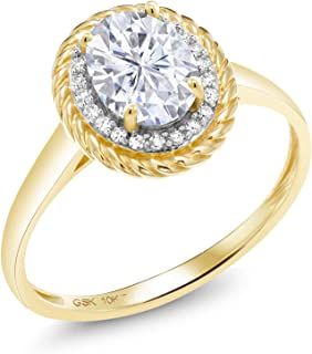 10K Yellow Gold Engagement Ring Forever One (GHI) Oval 1.50ct (DEW) Created Moissanite by Charles & Colvard and Diamond