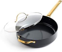 GreenPan Padova Reserve Healthy Ceramic Nonstick, Saute Pan with Lid, 4.5 QT, Black