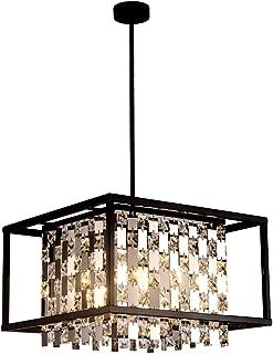 BEIRIO Modern K9 Crystal Pendant Lighting with 4-Lights Bulbs(Included) Rectangle Black Metal Shape Adjustable Island Light for Dining Room Kitchen Living Room Bedroom Table Restaurant, 15.7×52.4 inch