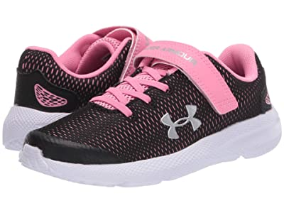 Under Armour Kids Pursuit 2 (Little Kid) (Black/Lipstick/Metallic Silver) Girls Shoes
