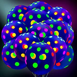 50 Pieces Blacklight Party Balloons 12 Inch Reactive Fluorescent Mini Polka Dots Balloons Neon Glow Latex Balloons Glow in...