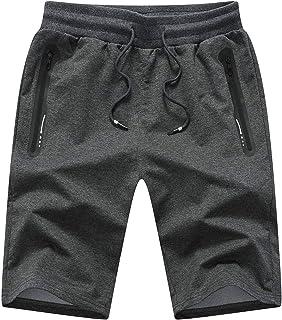 JustSun Mens Gym Shorts Casual Sports Joggers Shorts with Zip Pockets