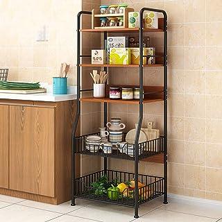 Rangement Cuisine Organisateur étagère Utility Storage Shelf 5 Tier Shelf Cuisine Baker Rack avec 2 paniers fil for Baker ...