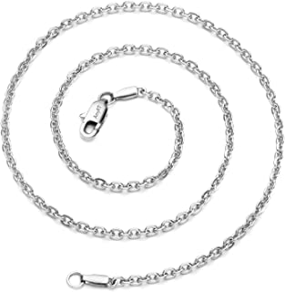 Jewelry 3mm Titanium Steel Cable Chain Silver Necklaces for Women 16