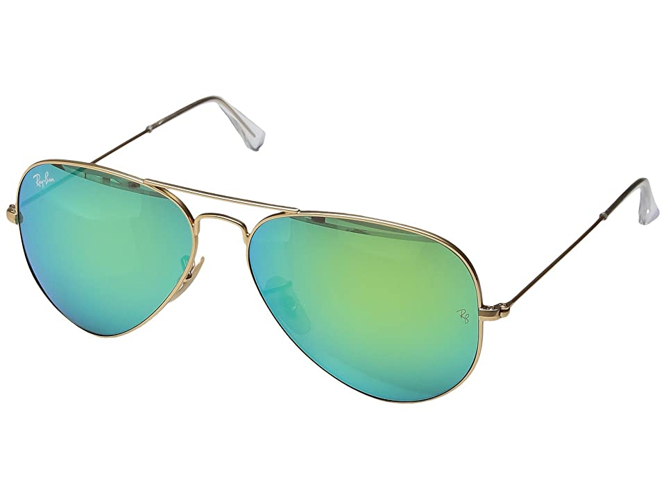 Ray-Ban RB3025 Original Aviator 58mm (Matte Gold/Green Mirror) Metal Frame Fashion Sunglasses