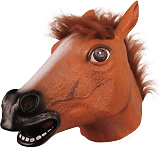 Molezu Horse Head Mask,Creepy Brown Horse Head Rubber Latex Animal Mask,Novelty Halloween Costume party, Brown, one size f...