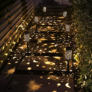 Solar Pathway Lights, 4 Pack Lights Solar Powered Waterproof, Hanging Solar Lights Decorative Star Moon Solar Path Lights ...