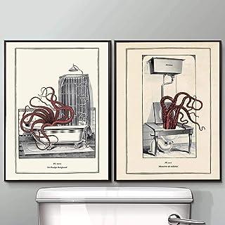 Pintura de la lona Impresión del pulpo de la vendimia Arte de la pared del inodoro divertido Cartel del guardarropa Cuadro...
