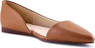 HSYZZY Women Flat Shoes Leather Slip On Comfort Casual Pointed Toe Ballet Flats Brown