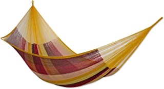 NOVICA Yellow Brown Red Striped Hand Woven Cotton Mayan 2 Person XL Rope Hammock, Tropical Paradise' (Double)