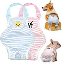 Stock Show Small Dog Cute Summer Cotton Stripe Sanitary Pantie with Adjustable Strap Suspender Physiological Pants Pet Underwear Diaper Jumpsuit for Girl Dog Teddy Young Corgi French Bulldog Puppy