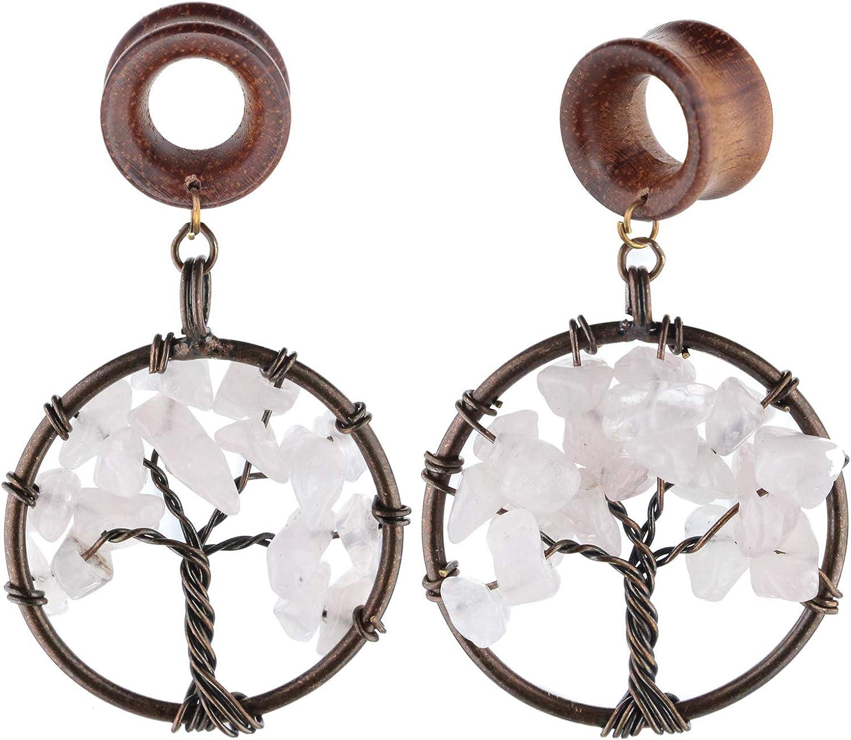 Handmade Rose Quartz Tree of Life Wood Dangle Ear Gauges Piercing Flesh Tunnels Plugs Statement Earrings Stretching Kit