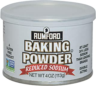 Rumford Reduced Sodium Baking Powder 4oz, NON-GMO Gluten Free, Vegan, Vegetarian, Double Acting Baking Powder in a Resealable Can with Easy Measure Lid, Kosher, Halal