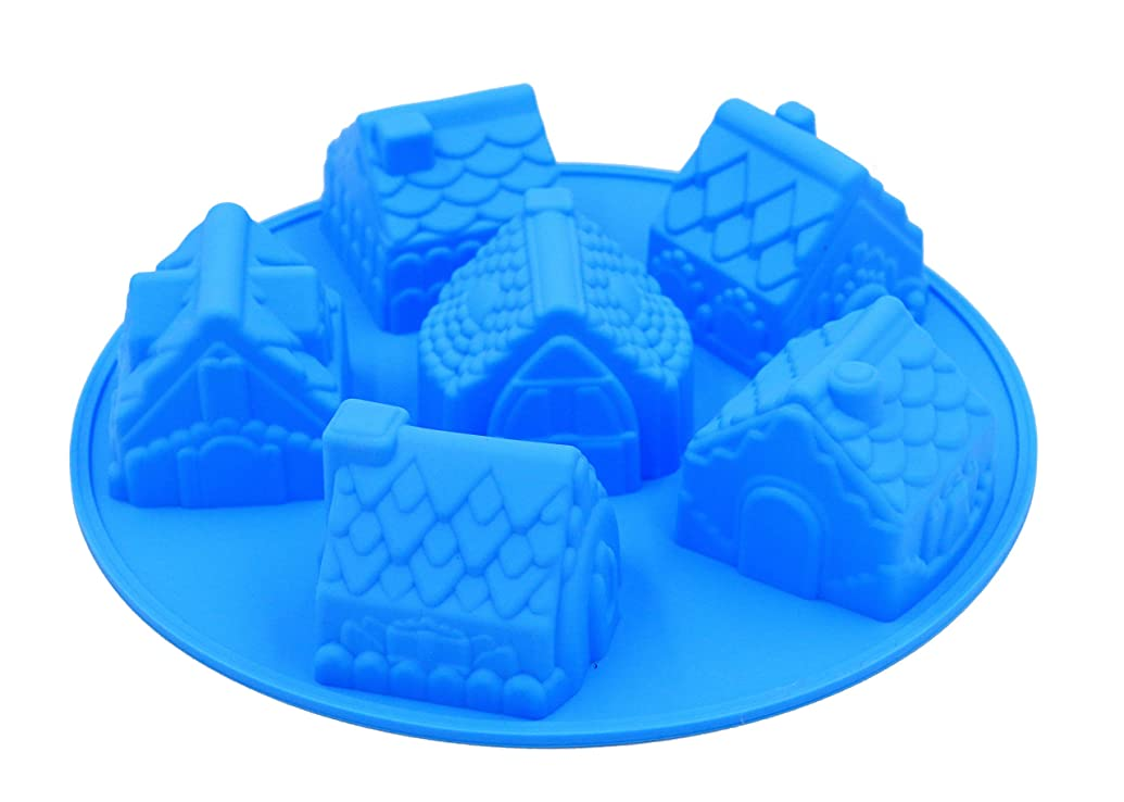 PONECA Silicone Mold Cake Baking Mold Soap 6 Cavity Christmas House &Car Shape Cake?DIY for Homemade Cake? Soap Jelly Pudding Chocolate ?Silicone Muffin (House shape)