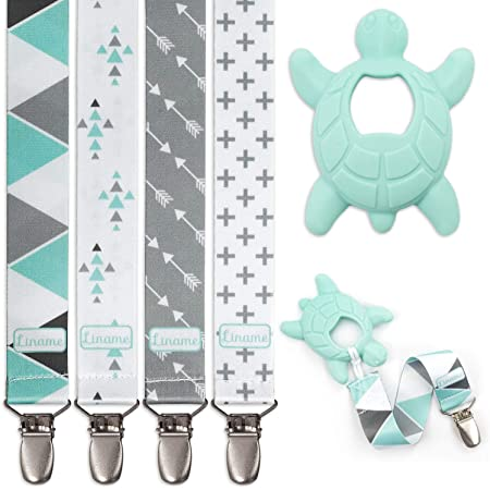 Liname 4 Pack Pacifier Clip for Boys & Girls w/Teething Toy - Baby Gift - for Soothers (Mint, Metal Clips)