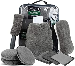 Car Cleaning Tools 9 Pcs Car Wash Kit Automotive Cleaning Kits - Microfiber Wash Mitt and towels, Wax Applicator Pads, Whe...