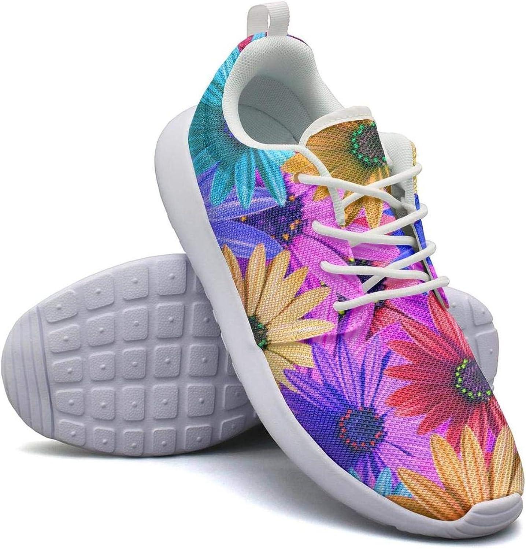 CHALi99 Women's Lightweight shoes Summer Daisy Flowers Chrysanthemum Floral Green Sneakers Trail Running Rubber