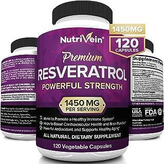 Nutrivein Resveratrol 1450mg - Anti Aging Antioxidant Supplement 120 Capsules - Promotes Immune, Cardiovascular Health and...