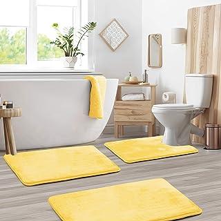 3-Pack Bath Mat Set – Large, Small and Contour Bathroom Rug Set, Absorbent Memory Foam Bath Rugs, Non-Slip, Velvet Microfi...