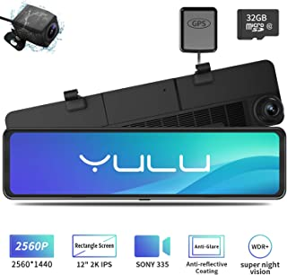 Mirror Dash Cam Car Backup Camera 12 2K IPS Full Touch Screen 2560P+1080P Resolution Front and Rear View Dual Lens, Adjustable Wide Angle, WDR Night Vision, Parking Monitor, GPS & 32GB Card Included