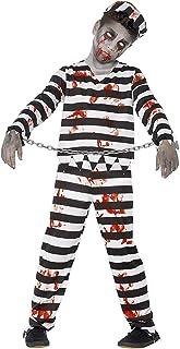 Smiffys Costume condamné zombie, avec haut, pantalon, chapeau & revers poignets,Noir/Blanc,L