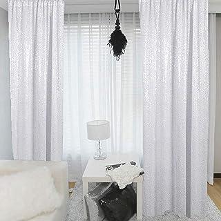 Weiße Paillettenvorhänge, 2 Paneele, 60 x 200 cm, für Babyparty, Hintergrund mit Pailletten, Hintergrund für Hochzeit
