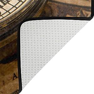 Use7 - Alfombra de diseño Vintage con brújula en el Mapa del Mundo, Tela, 160cm x 122cm(5.3 x 4 Feet)