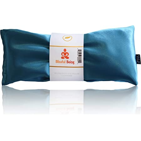 Blissful Being Lavender Eye Pillow - Hot or Cold Weighted Satin Eye Mask perfect for Sleeping, Yoga, Meditation - Gifts for Women, Birthday, Teachers - Natural Herbal Relaxation (Aqua)