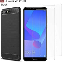 MYLB Compatible with Huawei Y6 2018 case,with Huawei Y6 2018 screen protector. (3 in 1)[Anti-fall] fashion Soft TPU Shockproof Case with Huawei Y6 2018 glass screen protector(Black)