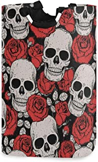 DOMIKING Panier à linge pliable avec poignée - Motif tête de mort et roses