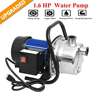 Hurbo Portable Stainless Steel Lawn Sprinkling Pump Water Pump Shallow Well Pump for..