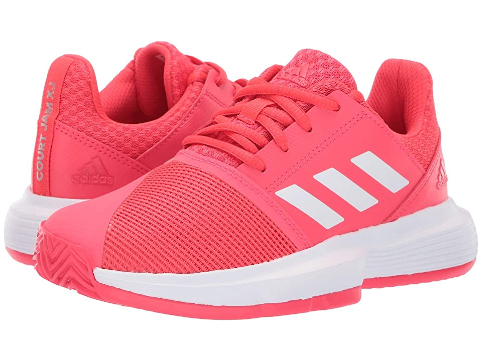 adidas Kids Court Jam XJ Tennis (Little Kid/Big Kid) (Shock Red/Footwear White/Matte Silver) Kids Shoes