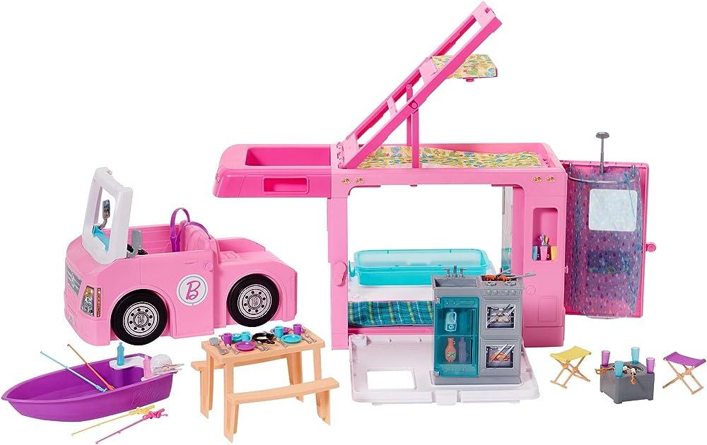 barbie- camper dei sogni 3 in 1 playset con 3 veicoli e 50 accessori giocattolo per bambini 3+ anni ghl93