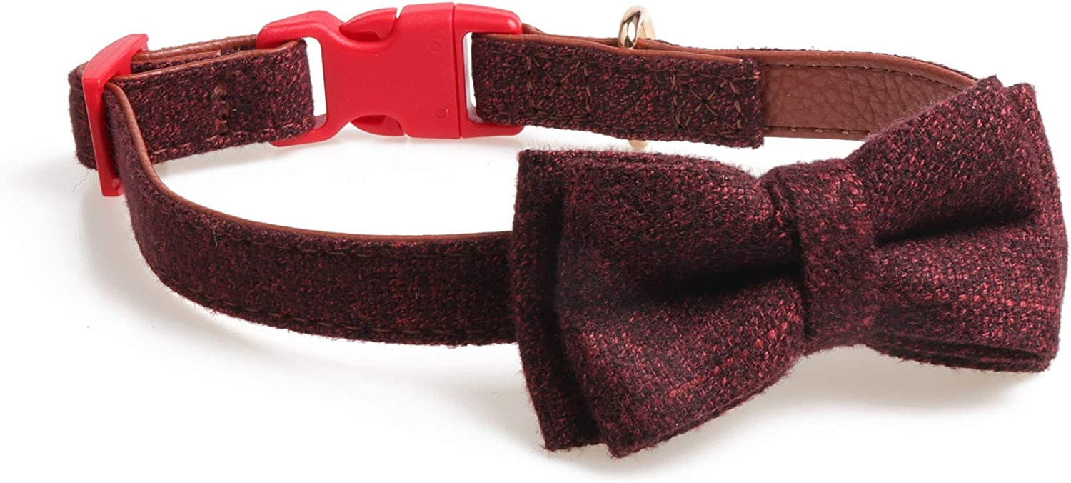Pet Online Pet Collar Safety Buckle Bow Decorative Dog Collar,Red Brown,1.5×24.535cm