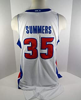 bf68505ef506 2009-10 Detroit Pistons DaJuan Summers  35 Game Used White Jersey MR. D
